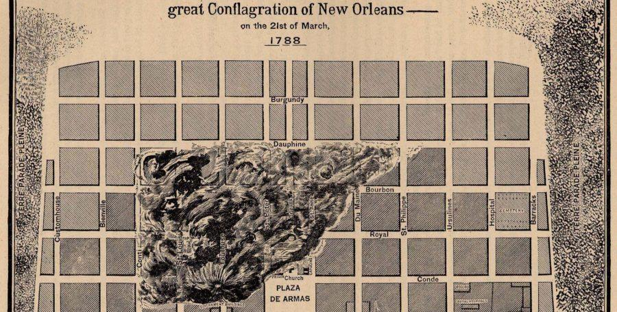 Artistic rendering of the impact of the 1788 Great Fire of New Orleans. Photo from Public Domain