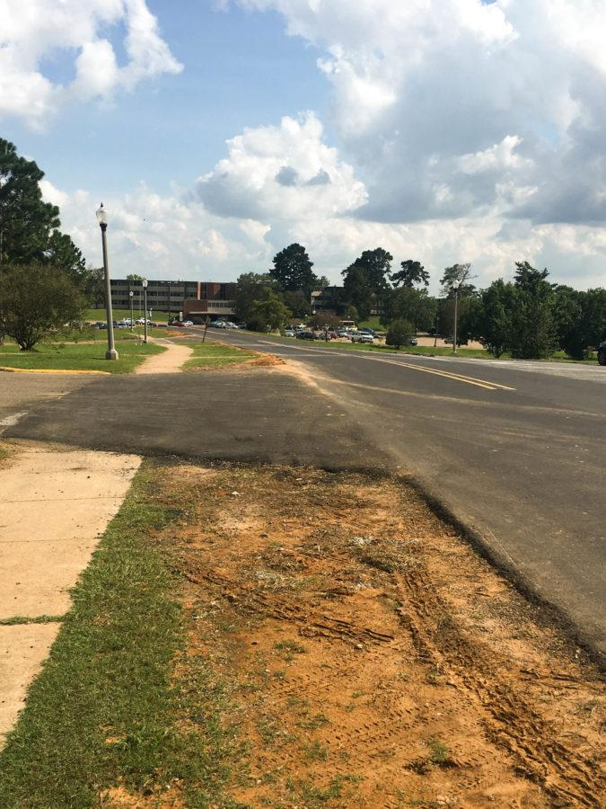 Sam Sibley Drive from University Parkway to Caspari Street was repaved over the summer. Photo credit: Melissa Taylor