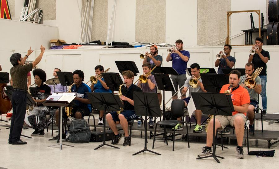 The Jazz Orchestra rehearses for its upcoming concert in the band room. Photo by Sean McGraw