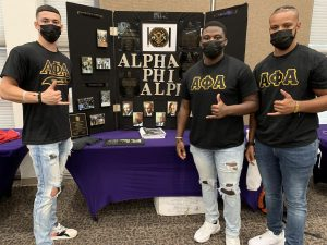 Alpha Phi Alpha Chapter Dean Tahner Raphael, Treasurer Kyle Scott and  Chapter Secretary Jaylon Etienne discussed greek life with their fellow demons at the Greek 1010 event.