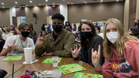 Students Bryce Fonseca, TJ Woodard, Hallie Bloxom, Eryn Sandwell enjoy the Bingo event put on by The First Year Experience Office.