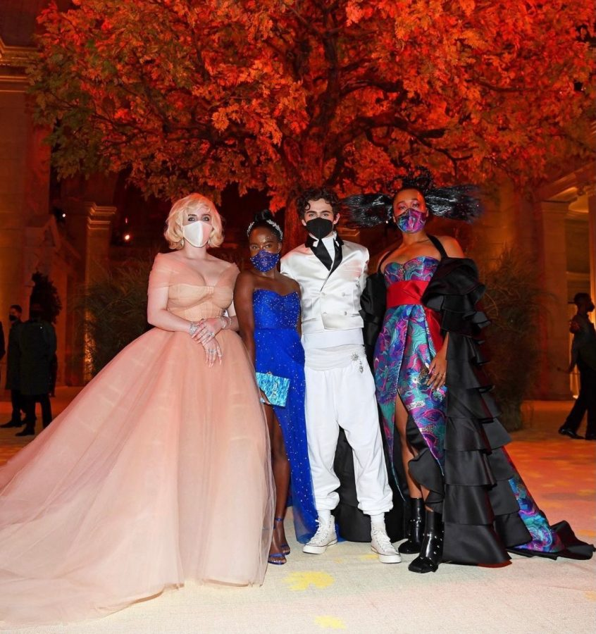The four co-chairs of this year's Met Gala sporting their outfits: Billie Eilish, Amanda Gorman, Timothee Chalamet and Naomi Osaka.