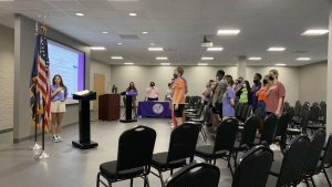 Northwestern State University of Louisianas Student Government Association stands for the pledge of allegiance at the beginning of Mondays meeting.
