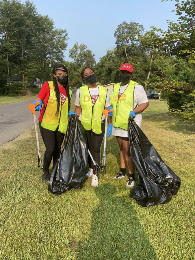 Members of the National Pan-Hellenic Council helped clean up the Natchitoches community during NPHC Week's