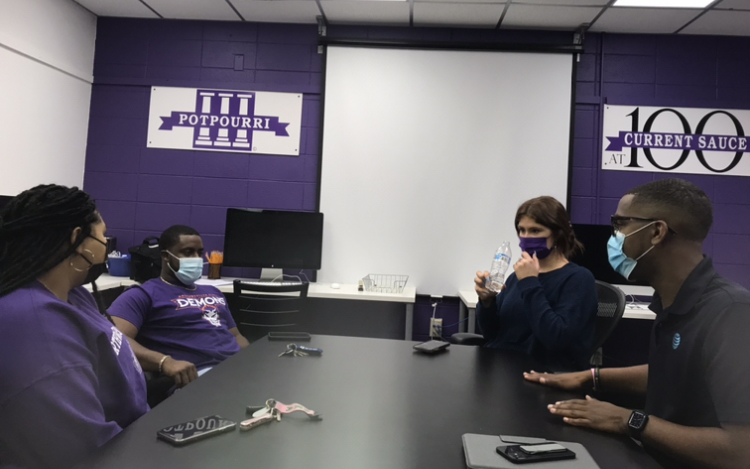 From left to right, Tjah Edwards, Miss Northwestern State University of Louisiana, Matt Nelson, Mr. NSU,   Madeleine Hensley, homecoming queen and Darrin Nixon, homecoming king, chatting before the start of their interview.
