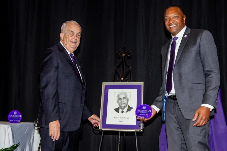 Long Purple Line Inductee Thomas Whitehead and Northwestern State University of Louisiana Interim President Marcus Jones.